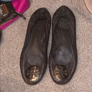 Tory Burch Riva Ballet Flats Logo Brown leather